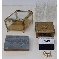 Vintage Collectibles, Miniature Jewelry Box, Shot Glasses, Etc.…