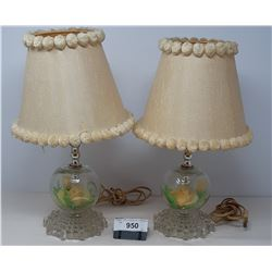 Vintage 60S Pair Of Nightstand Lamps Glass With Shades
