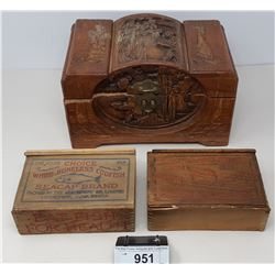 Vintage Asian Carved Wooden Box And 2 Vintage Wooden Cod Fish Boxes From Nova Scotia