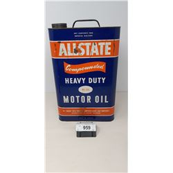 Early 2 Gallon All State Heavy Duty Motor Oil Can