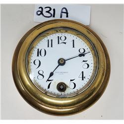 Model T Brass Era 8 Day Car Clock, Porcelain Dial, New Haven Clock Company In Original Rolex Box