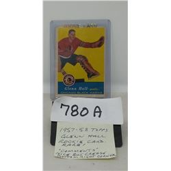 1957-58 Topps Glenn Hall Rookie Card Rare!