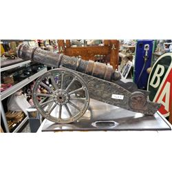 Large Heavy Unusual Cast Iron Cannon, Very Detailed, Reproduction, Decorative