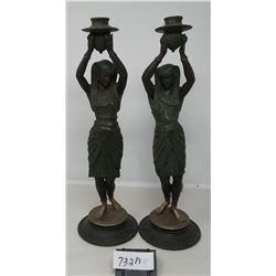 Match Pair Of Early Figural Candle Holders Well Done