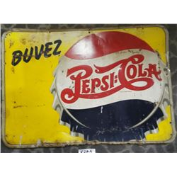 Rare Pepsi Double Dot Tin French Sign