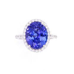 AAA Tanzanite 7.75ct & VS2 Diamond Platinum Ring