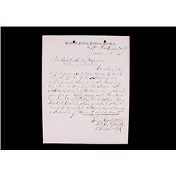 1887 Indian Agent in Mont. Terr.  Autograph Letter