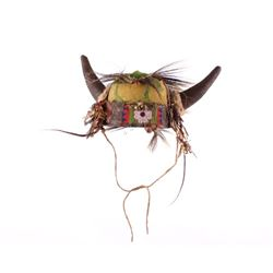 Crow Buffalo Horn Hair Roach War Bonnet 19th C.