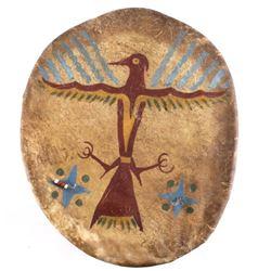 Sioux Polychrome Thunderbird Parfleche War Shield