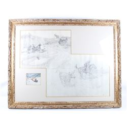 Charlie Dye Framed Painting & Preliminary Drawings