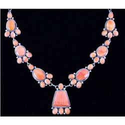 Navajo Spiny Oyster & Sterling Silver Necklace