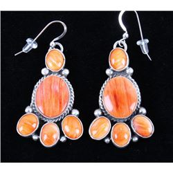 Navajo Spiny Oyster & Sterling Silver Earrings
