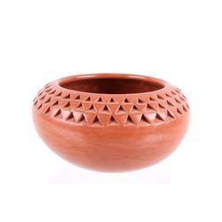 Hopi-Tewa Garnet Pavatea Redware Textured Bowl