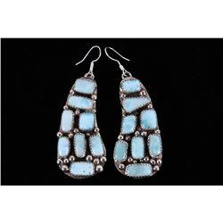 Navajo B. Lee Larimar Sterling Silver Earrings