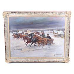 A Scheloumoff Russian Race Original Oil Painting