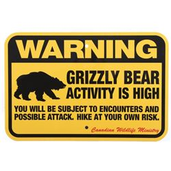 Grizzly Bear Warning Sign from Canada