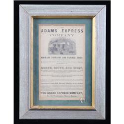 Adams Express Company Framed Advertising Paper