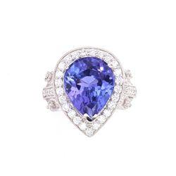 Usumburu Mountain Tanzanite 6.29ct VS Diamond Ring