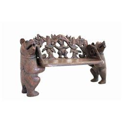 Hand Carved Walnut Bear Bench c. Mid 1900's