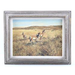 Ernest Berke Original Antelope Framed Oil Painting