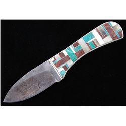 Navajo Wilson Dawes Multi-Stone Damascus Knife