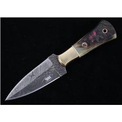 M.T. Knives Damascus and Rams Horn Dagger Knife