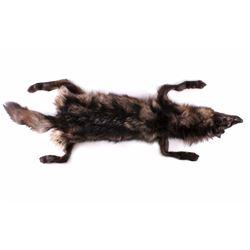 Large Montana Black/Silver Plush Trophy Wolf Hide
