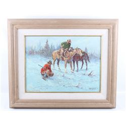 Fred Oldfield Trackers Original Oil Framed Art
