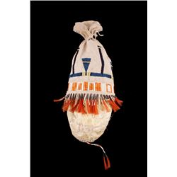 Sioux Beaded and Quilled Hide Bladder Bag c 1950s-