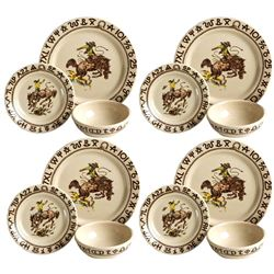 Westward Ho Rodeo 3-Piece Dinner Set of Four