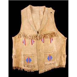 Chippewa Beaded Elk Hide Vest c. 1900-