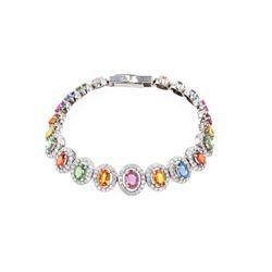 Multi-Colored Natural Sapphire Diamond Bracelet