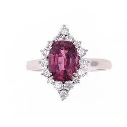 Purplish-Pink Spinel 2.25ct & VS1 Diamond Ring