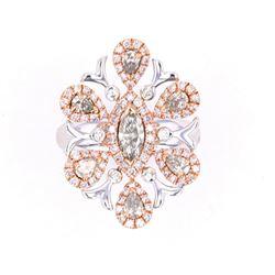 Natural Pink Diamond 18K White & Rose Gold Ring