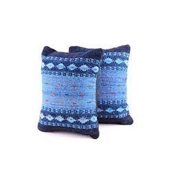 Saltillo Azul Churro Wool Set of Two Pillows Reyna