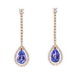 Classic Tanzanite & Diamond 14K Dangle Earrings