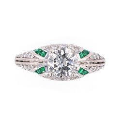Great Gatsby Art Deco Diamond & Emerald Ring