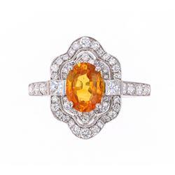 Natural Yellow-Orange Sapphire & Diamond 14K Ring
