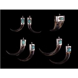 Navajo Silver & Turquoise Bear Claw Pendant Pairs