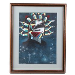 Clifford Brycelea Sunface Figure Framed Painting