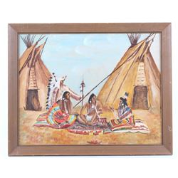Ishe Sha Kay Blackfoot Indian Village Painting