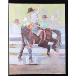 Bucking Bronco Signed Oil Painting on Canvas