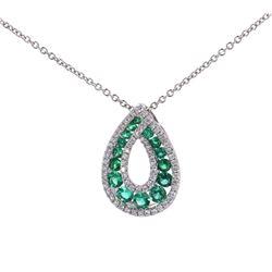Natural Emerald & Diamond Set 18K Pendant Necklace