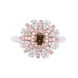 Fancy Cognac, Green, Pink, & White Diamond Ring