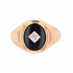 1900's 10K Gold and Diamond Signet Ring