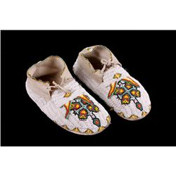 Sioux Turtle Beaded Bifurcated Hide Moccasins