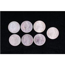 Collection of Seven Morgan Silver Dollar Coins