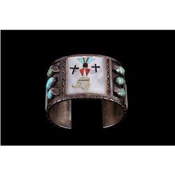 Zuni New Mexico F. Panteah Inlaid Kachina Bracelet