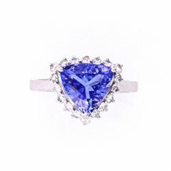 Beautiful Tanzanite & Diamond 14K Ring w/ Papers