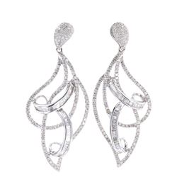 Vintage Diamond 18k White Gold Ribbon Earrings